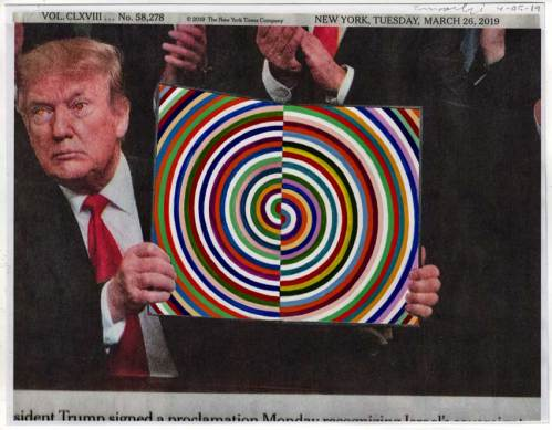 """Fred Tomaselli - """"March 26, 2019,"""" gouache and collage on paper, 8.5 x 11 inches (14 x 16.5 inches framed)"""