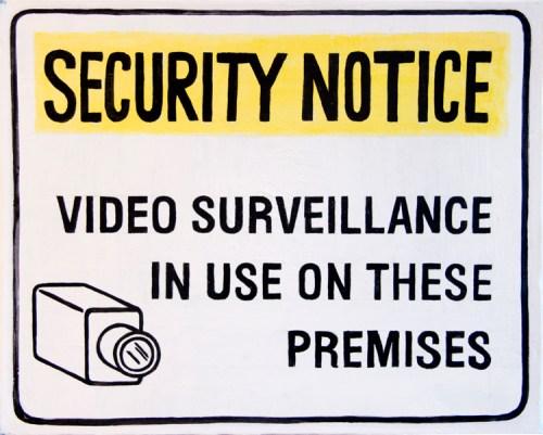 "Jim Torok - ""Security Notice,"" 2016, Acrylic on canvas, 16 x 20 inches"