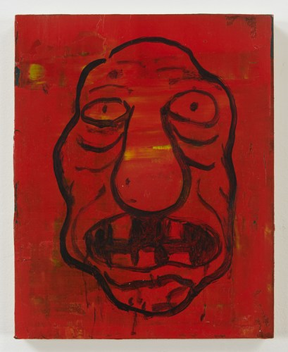 "Jim Torok - ""Self-Portrait Red,"" 2015, Acrylic on wood panel, 10 x 8 inches"