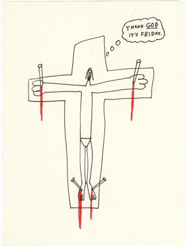 Thank God It's Friday - 2013, Ink and colored pencil on paper, 9.75 x 7.5 inches