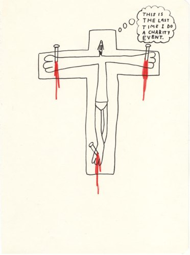 Charity Event - 2013, Ink and colored pencil on paper, 9.75 x 7.5 inches