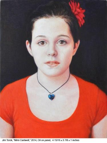 "Jim Torok - ""Mimi Cantwell,"" 2014, Oil on wood panel, 4 15/16  x 3 7/8 x 1 inches"