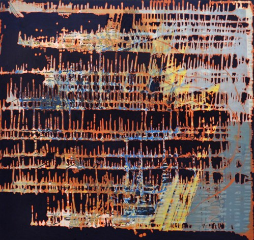"""Sarah Walker - """"Cenote,"""" 2014, Acrylic on panel, 36 x 38 inches"""