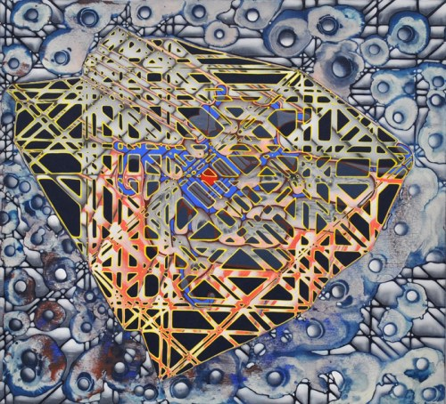 """Sarah Walker - """"Entity,"""" 2015, Acrylic on panel, 22 x 20 inches"""