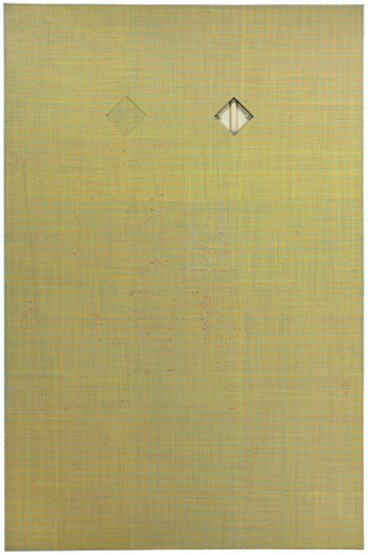 165 (wky) - 2009, Acrylic and Graphite on Canvas, with Removed and Repalced Area and Removed and Reversed Area, 56 x 36 inches