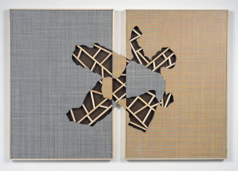 169 (k & w) - Acrylic and Graphite on Canvas, Two Panels, with Removed and Repalced Areas, 24 x 32 inches  Two-sided painting.  It can hang with either side visible.