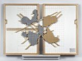 169 (k & w) reverse image - 2009, Acrylic and Graphite on Canvas, Two Panels, with Removed and Replaced Areas, 24 x 32 inches. Two-sided painting.  It can hang with either side visible.