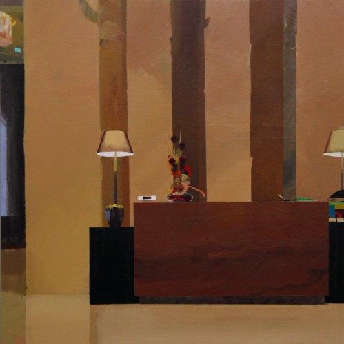 "Yi Pei Wen - ""The Hotel,"" 2014, Acrylic on panel, 24 x 24 inches"