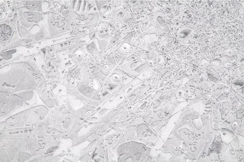 "Daniel Zeller - Detail: ""AnWaHaSoGrMoVaWiCr,"" 2017, Graphite on paper mounted on panel, 47.625 x 61.25 inches. Sold"