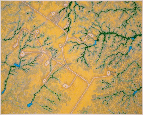 """Daniel Zeller - """"Elm Coulee Field (Bakken Formation; near Sidney Montana),"""" 2013, Ink and acrylic on paper, 30 x 37 inches"""