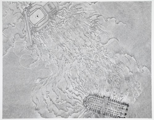 Daniel Zeller, Interaction Study-Al-Haram-Notre Dame - 2011, Graphite on paper, 17 x 21.5 inches
