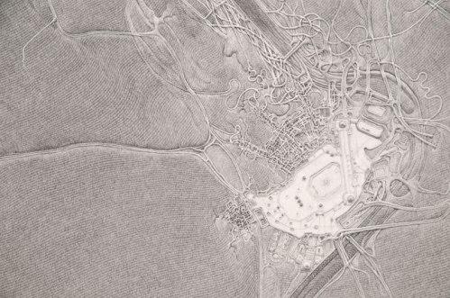 "Daniel Zeller - ""Vatican / Masjid al-Haram,"" (Detail) 2012, Graphite on paper, 40 x 50 inches"