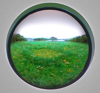 Fairy Ring with White Clover - 2010, Styrene, acrylic, neoprene, hair, paper, polyurethene foam, wood, lighting, BK7 glass. 3-inch exposed lens. Interior box dimensions: approximately 18 (wide) x 12 (high) x 10 (deep) inches.