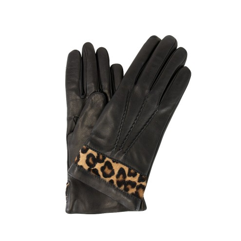 Black Leather with Leopard Print Accent cashmere lining