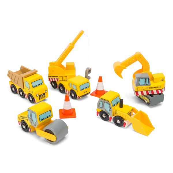 TV442-Construction-Wooden-Cars-Yellow-Digger-Lorry-Crane