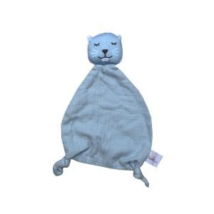 doudou-plat-castor-tête-bleu-glacier-detail-coton-bio-gots-oeko-tex-cadeau-naissance-bebe-carotteetcie