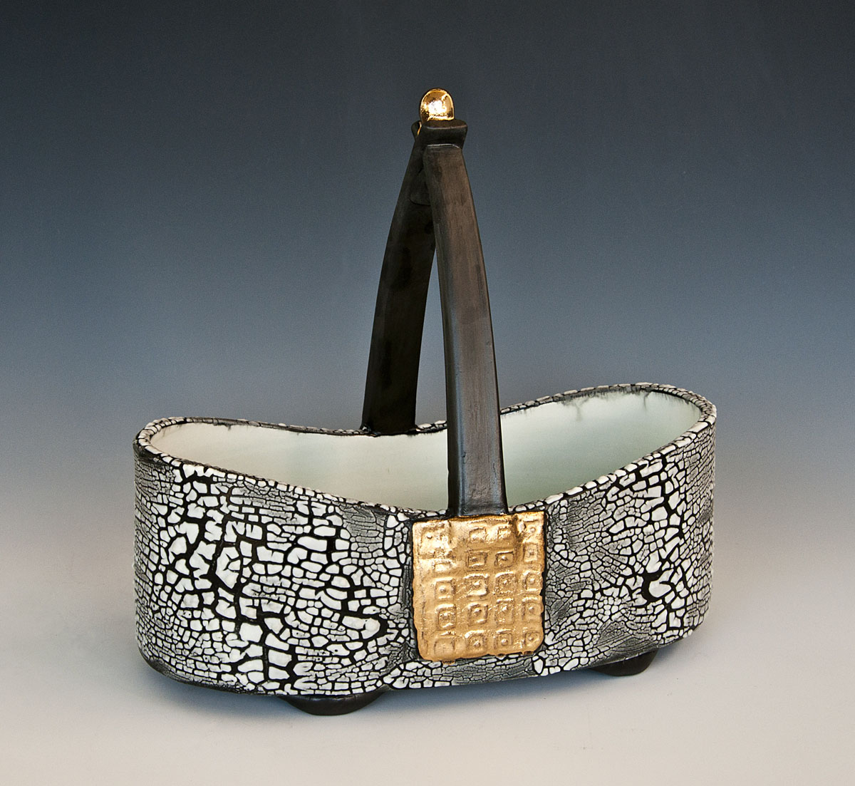 White Crackle Basket with Gold Luster