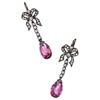 1860s Antique pink spinel diamond Silver Drop earrings