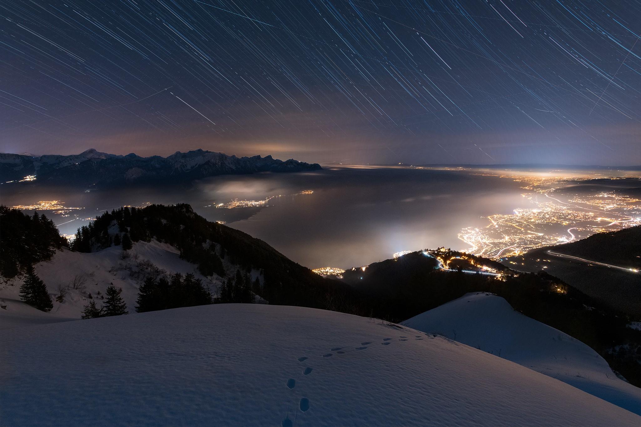 Star trail sur le Léman | Alpes Suisse © Pierre ROLIN - Photographe Nancy - Lorraine / Grand Est