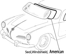 Karmann Ghia Windshield seal 70-74 with chrome groove
