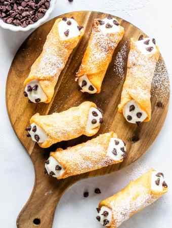Cannoli Recipe from scratch filled with ricotta and chocolate chips