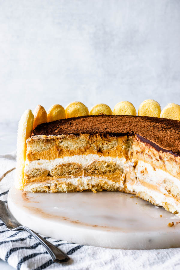 Pumpkin tiramisu sliced showing the middle of the tiramisu