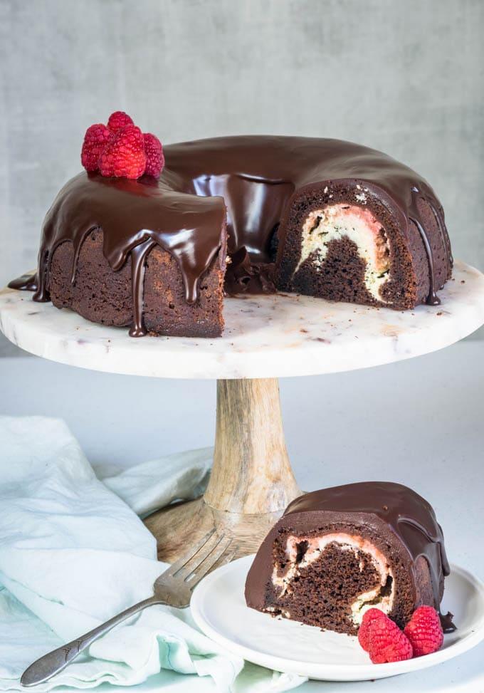 chocolate bundt cake raspberry cheesecake filling