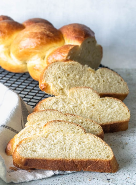 sliced challah bread homemade