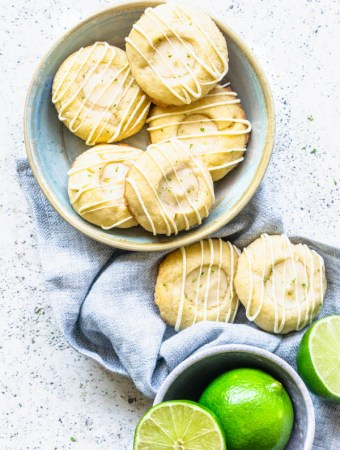 Lime Thumbprint Cookies with White Chocolate Glaze flatlay