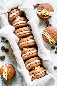 Espresso Chocolate and Peanut Butter Macarons