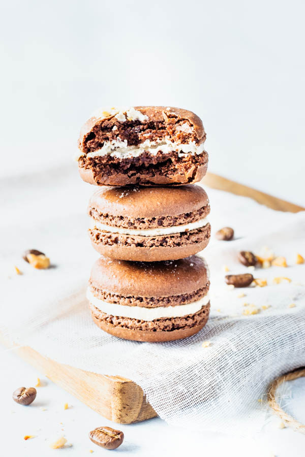 Espresso Chocolate and Peanut Butter Macarons