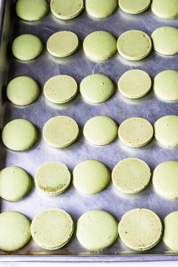 Pistachio Macarons shells before filling