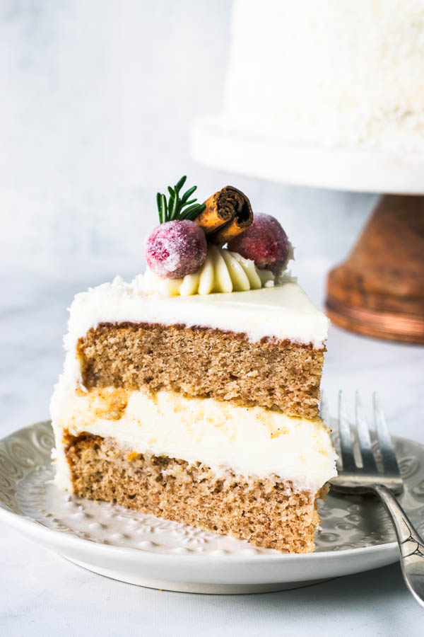 Eggnog Cake with White Chocolate Mousse Filling