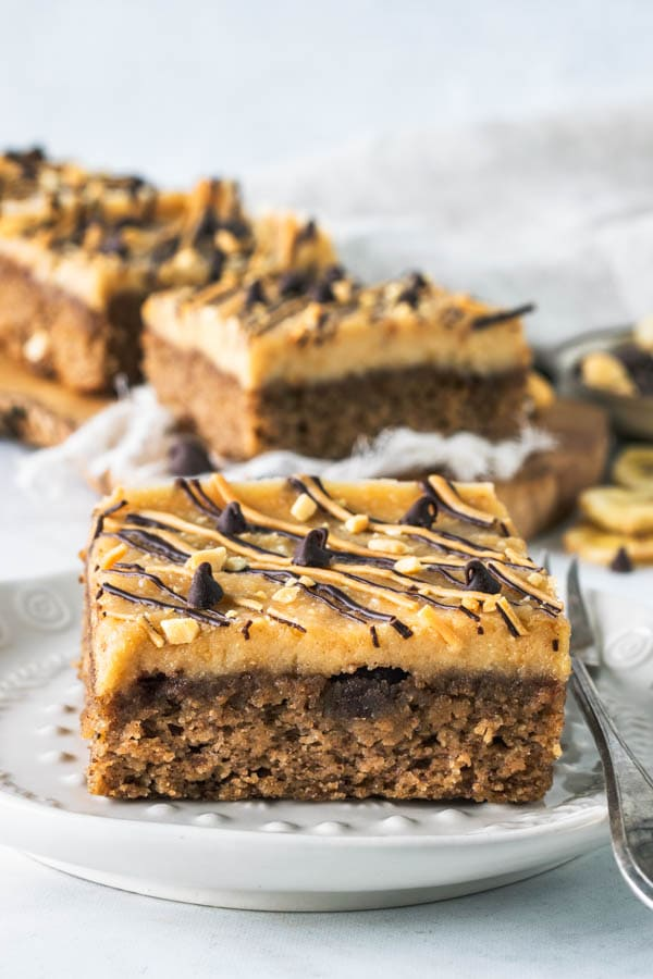 Peanut Butter Banana Vegan Cake Bars