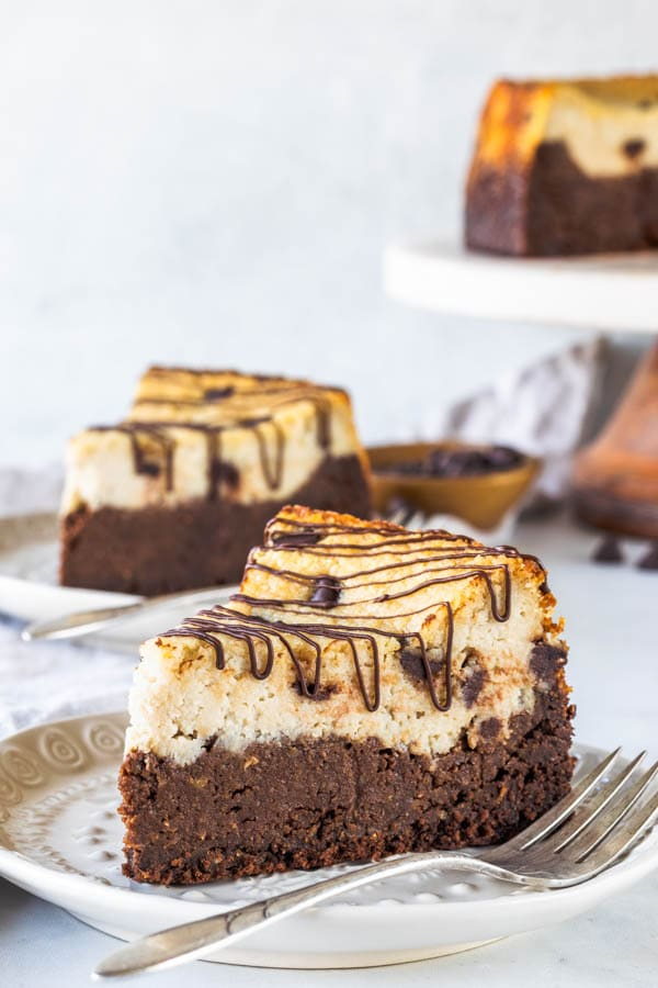 Vegan Brownie Chocolate Chip Cheesecake