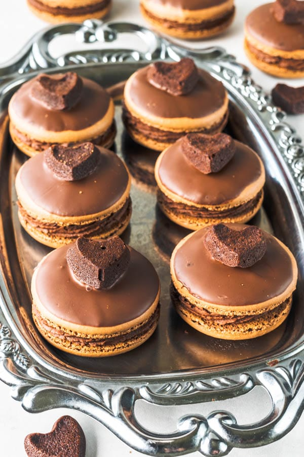Brownie Macarons in a tray