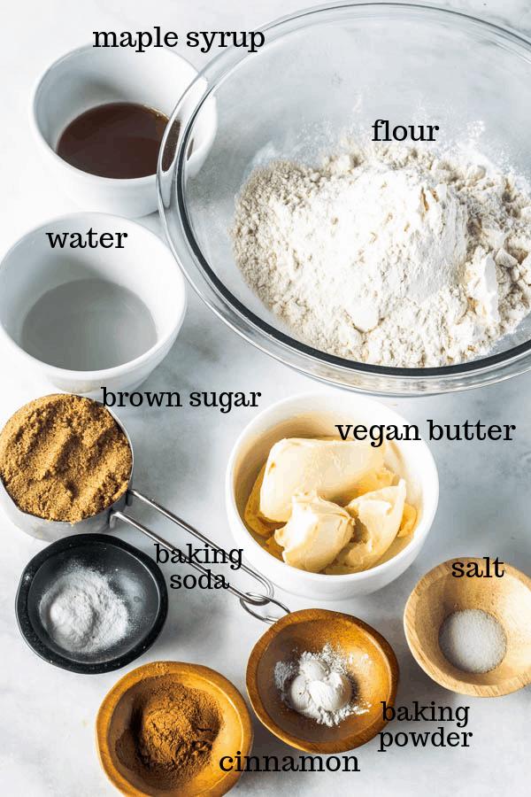 ingredients gathered to make vegan graham crackers