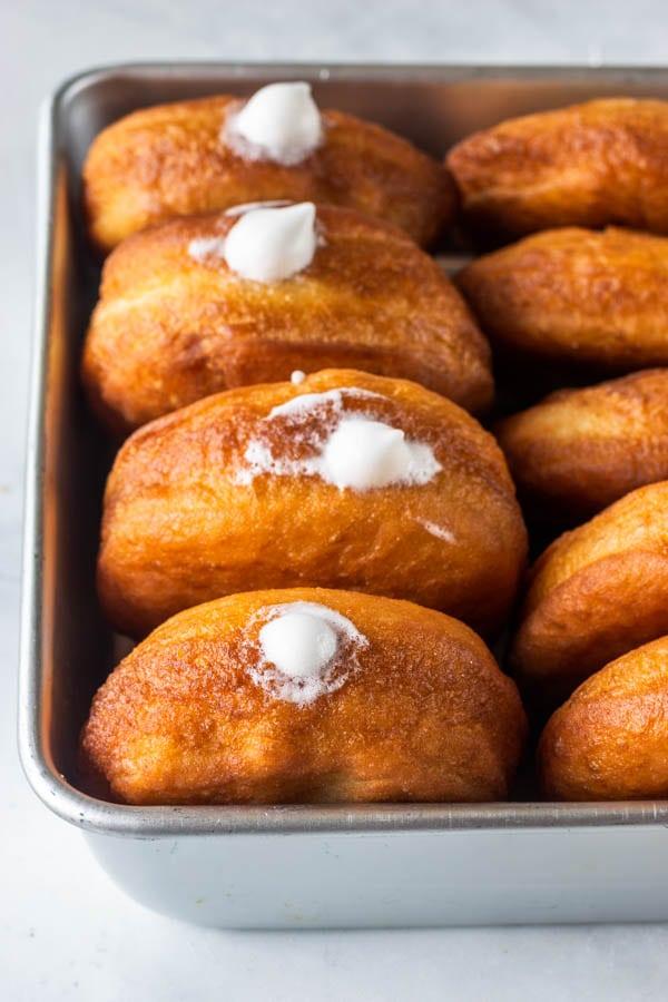 vegan donuts filled with vegan marshmallow fluff