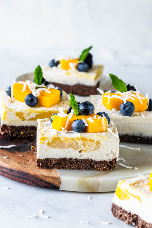 vegan cheesecake bars mango