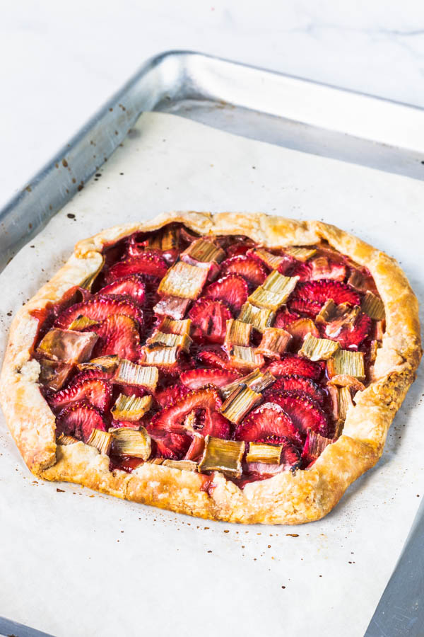 Vegan Strawberry Rhubarb Galette