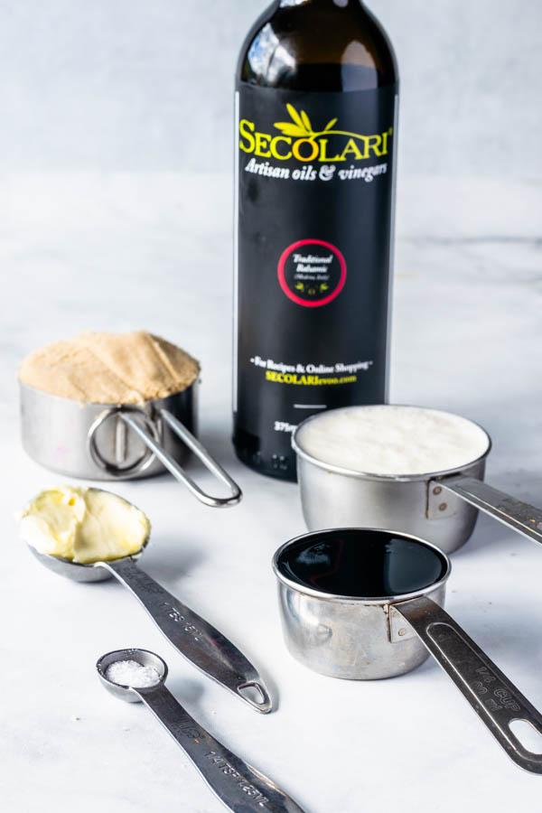 ingredients to make balsamic caramel sauce