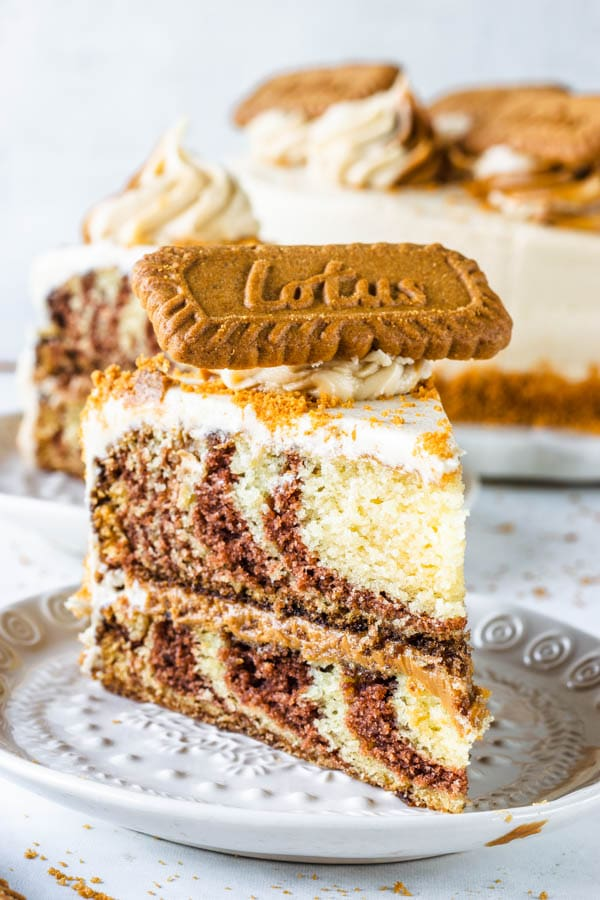 biscoff cookie butter vegan marble cake slice