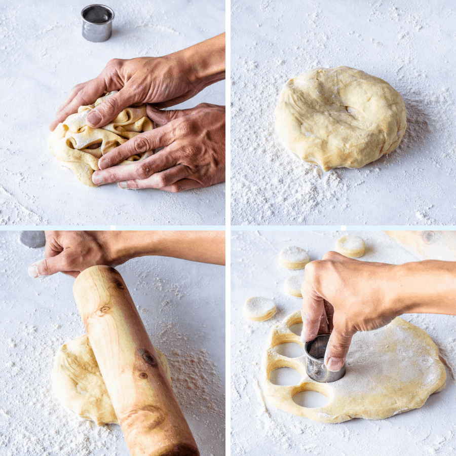 re-rolling donut dough