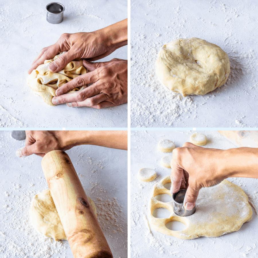 re-rolling donut dough
