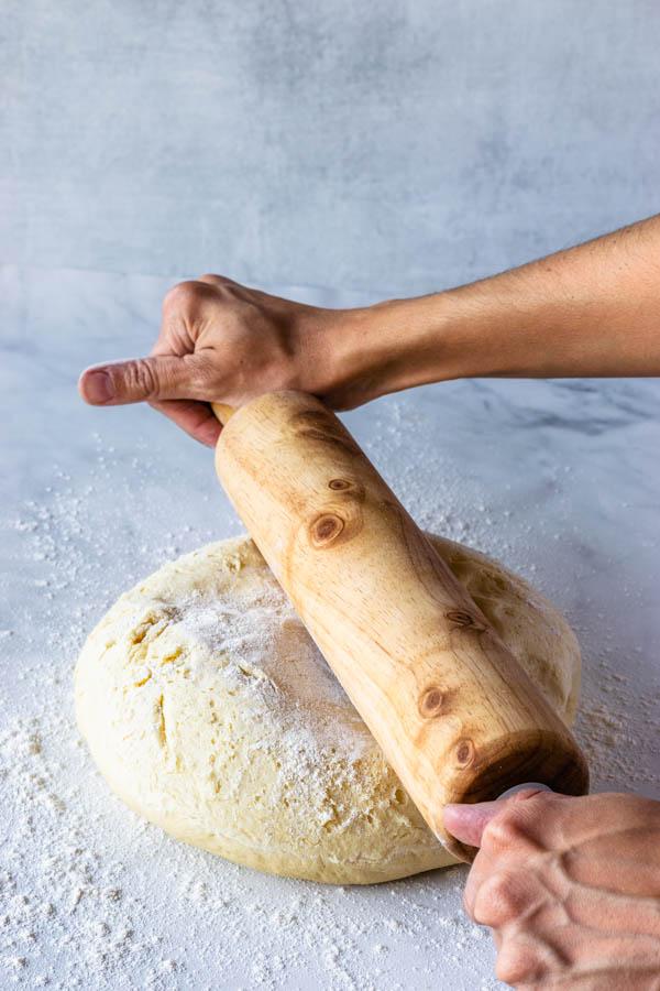 rolling donut dough