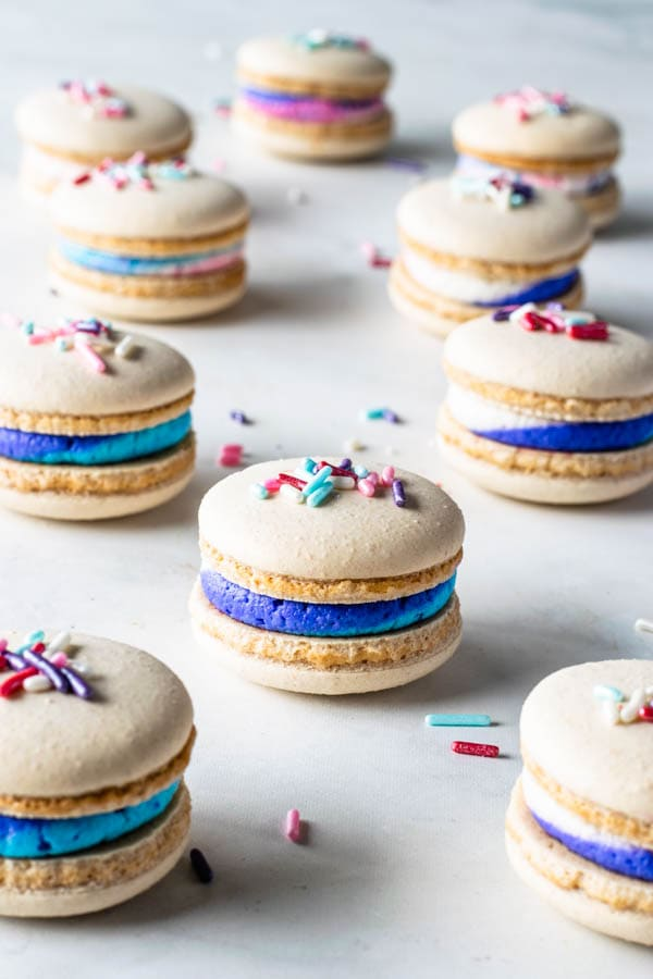 Vegan Vanilla Macarons with Sprinkles