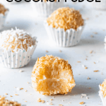 Coconut Fudge, coconut truffles made with condensed milk coated in toasted coconut