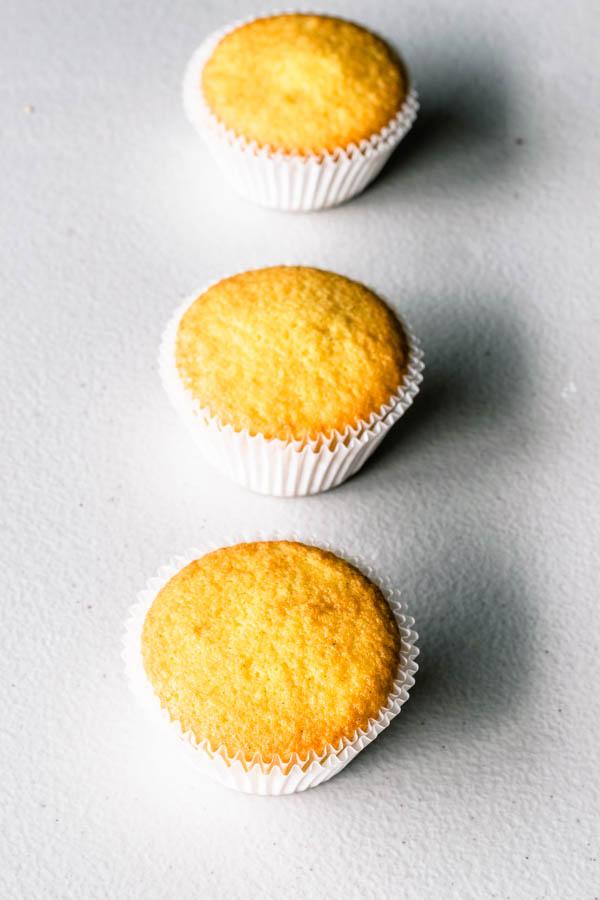golden vanilla cupcakes baked