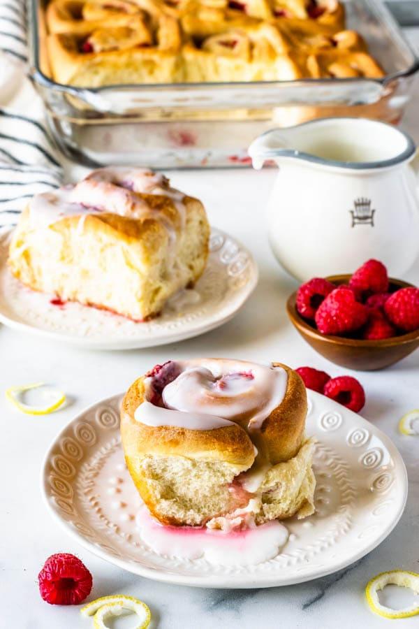 lemon raspberry rolls glazed with lemon sugar glaze