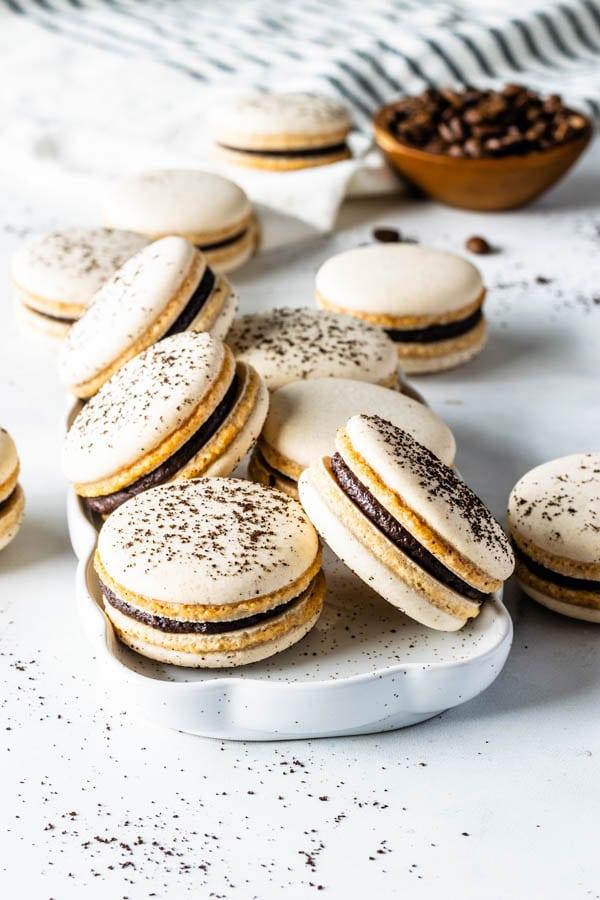 Vegan Coffee Macarons with Coffee Ganache Filling
